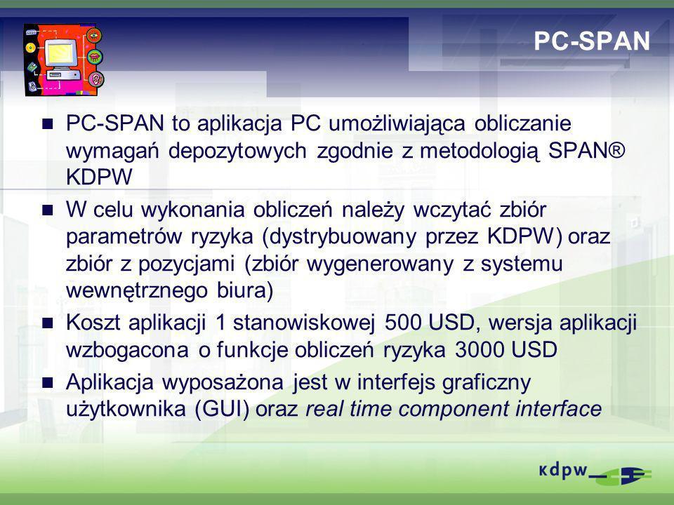 PC-SPAN PC-SPAN to aplikacja PC umożliwiająca obliczanie wymagań depozytowych zgodnie z metodologią SPAN® KDPW W celu wykonania obliczeń należy wczyta