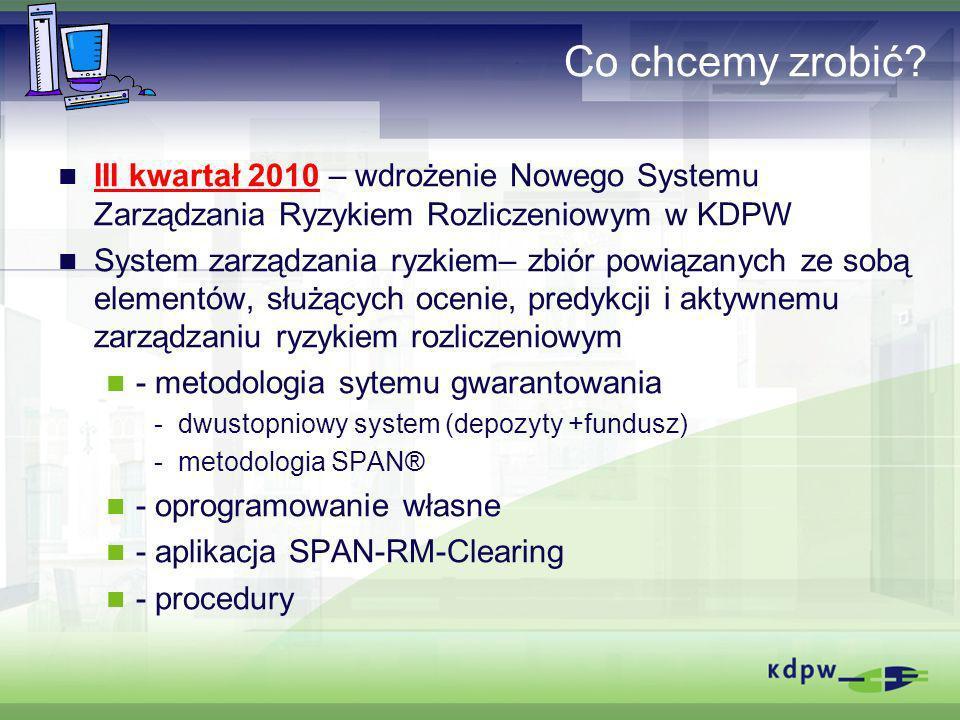 Co chcemy zrobić? III kwartał 2010 – wdrożenie Nowego Systemu Zarządzania Ryzykiem Rozliczeniowym w KDPW System zarządzania ryzkiem– zbiór powiązanych