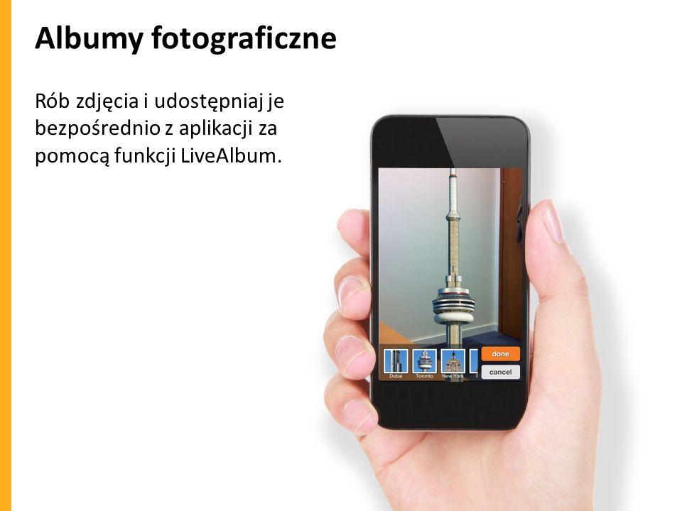 Albumy fotograficzne Rób zdjęcia i udostępniaj je bezpośrednio z aplikacji za pomocą funkcji LiveAlbum.
