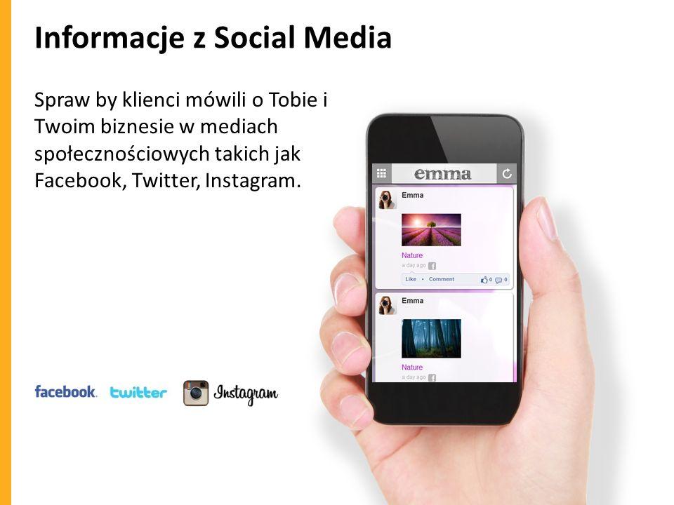 Informacje z Social Media Spraw by klienci mówili o Tobie i Twoim biznesie w mediach społecznościowych takich jak Facebook, Twitter, Instagram.