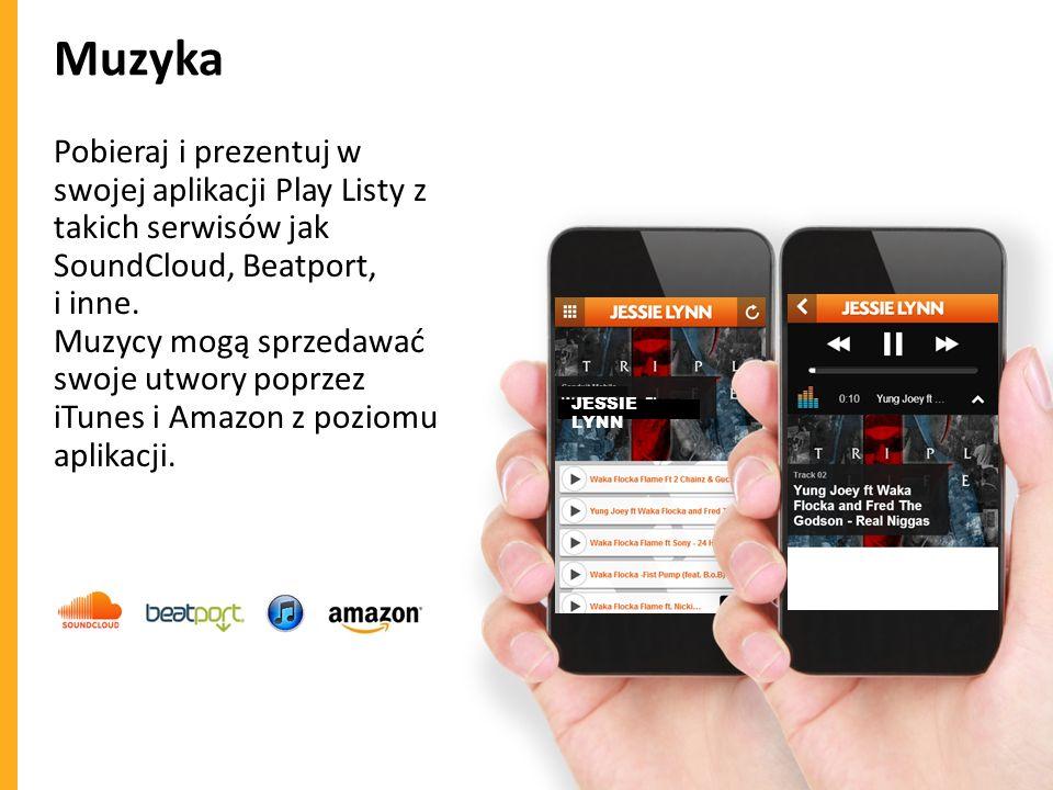 Muzyka Pobieraj i prezentuj w swojej aplikacji Play Listy z takich serwisów jak SoundCloud, Beatport, i inne. Muzycy mogą sprzedawać swoje utwory popr
