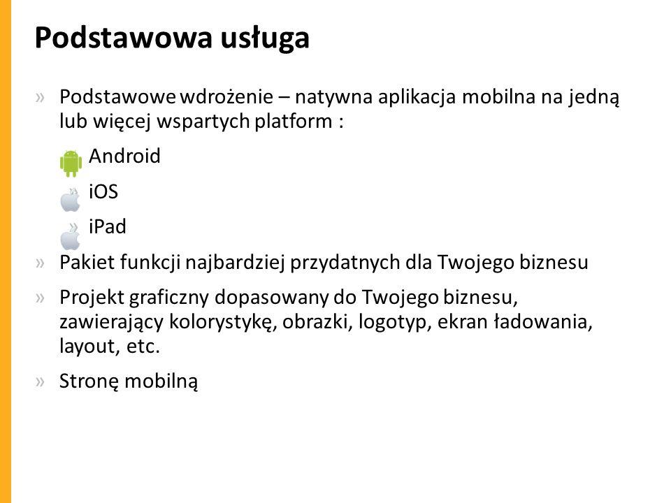 Podstawowa usługa »Podstawowe wdrożenie – natywna aplikacja mobilna na jedną lub więcej wspartych platform : »Android »iOS »iPad »Pakiet funkcji najba