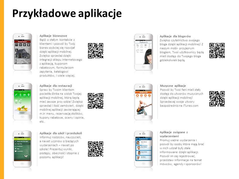 Przykładowe aplikacje Aplikacje biznesowe Bądź w stałym kontakcie z klientami i pozwól by Twój biznes szybciej się rozwijał dzięki aplikacji mobilnej.