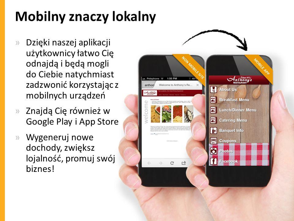 NON MOBILE SITE Mobilny znaczy lokalny »Dzięki naszej aplikacji użytkownicy łatwo Cię odnajdą i będą mogli do Ciebie natychmiast zadzwonić korzystając