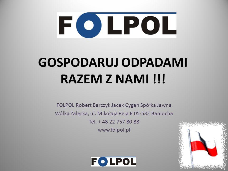 FOLPOL – oferta cz.2 Dokumenty DPO oraz DPR będą wystawiane po zakończeniu każdego kwartału przez firmy posiadające zezwolenia na przetwarzanie odpadów Podstawę do wystawieniu DPO oraz DPR stanowi wniosek skierowany do firmy FOLPOL.