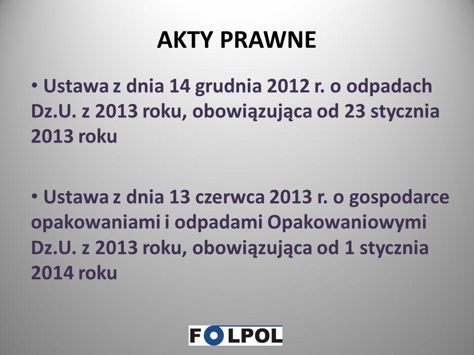 AKTY PRAWNE Ustawa z dnia 14 grudnia 2012 r.o odpadach Dz.U.