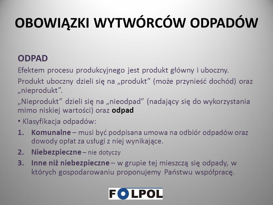 FOLPOL – informacje …. cd Firma FOLPOL posiada stosowne zezwolenie, zgodnie z art. 41 oraz art. 42 ust. 1 ustawy z dnia 14 grudnia 2012 r. o odpadach