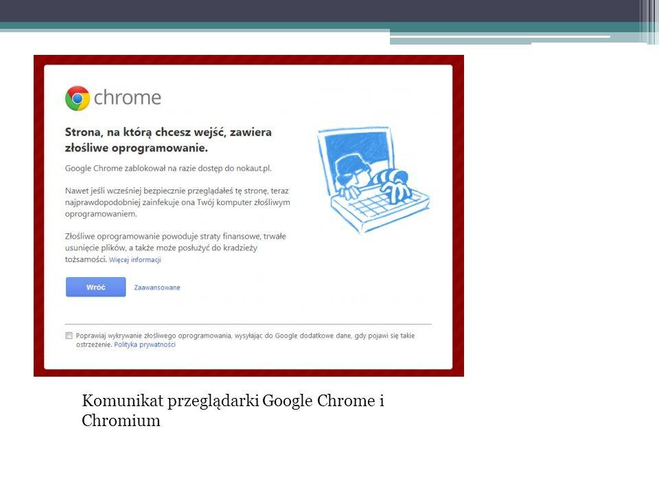 Komunikat przeglądarki Google Chrome i Chromium