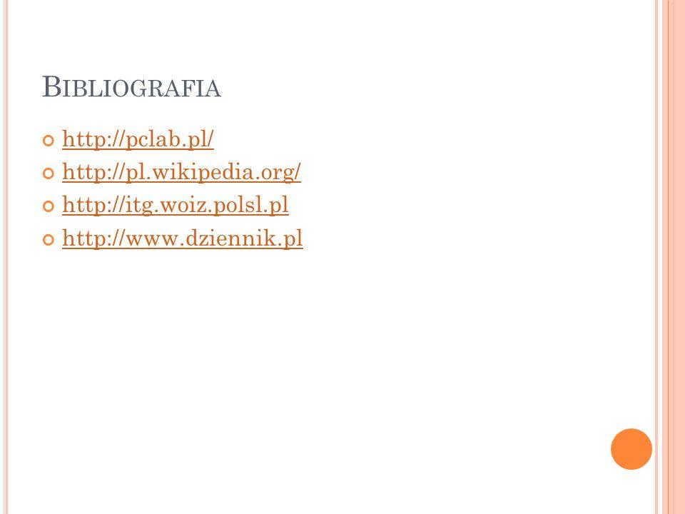 B IBLIOGRAFIA http://pclab.pl/ http://pl.wikipedia.org/ http://itg.woiz.polsl.pl http://www.dziennik.pl