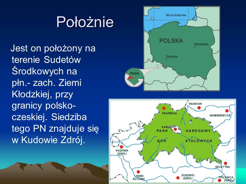 Położnie Jest on położony na terenie Sudetów Środkowych na płn.- zach. Ziemi Kłodzkiej, przy granicy polsko- czeskiej. Siedziba tego PN znajduje się w
