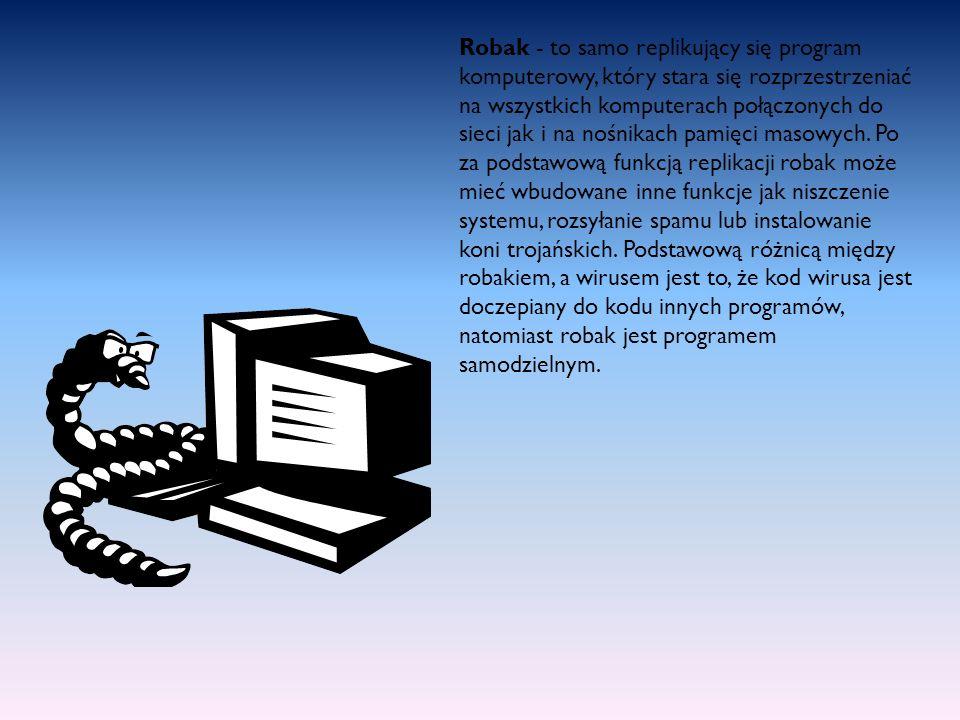 Robak - to samo replikujący się program komputerowy, który stara się rozprzestrzeniać na wszystkich komputerach połączonych do sieci jak i na nośnikac