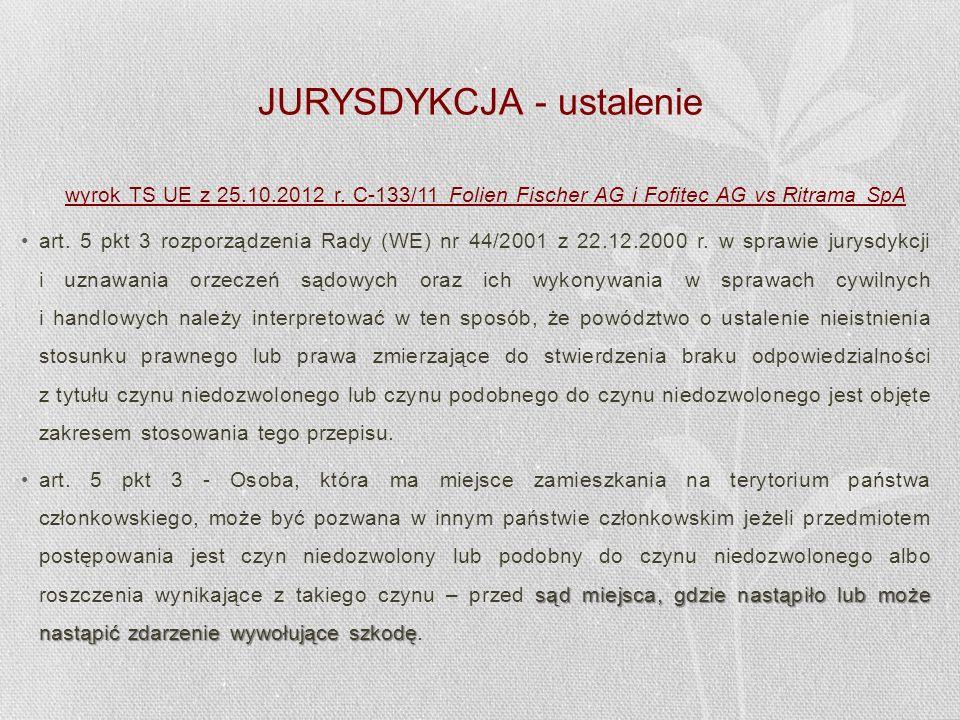 JURYSDYKCJA - ustalenie wyrok TS UE z 25.10.2012 r. C-133/11 Folien Fischer AG i Fofitec AG vs Ritrama SpA art. 5 pkt 3 rozporządzenia Rady (WE) nr 44