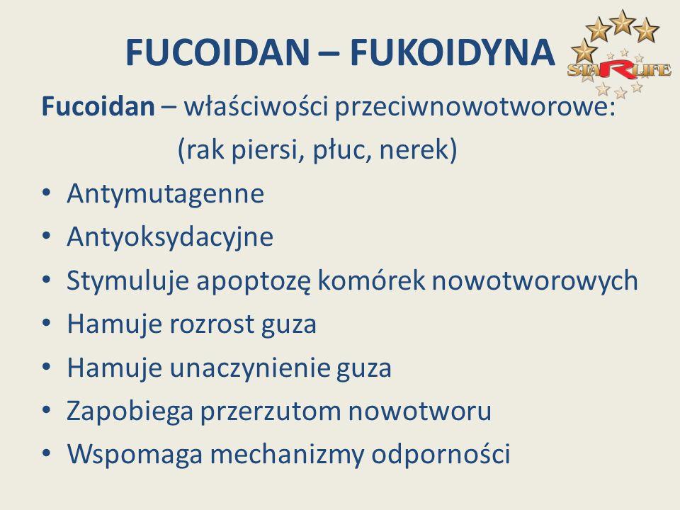 FUCOIDAN – FUKOIDYNA Fucoidan – właściwości przeciwnowotworowe: (rak piersi, płuc, nerek) Antymutagenne Antyoksydacyjne Stymuluje apoptozę komórek now