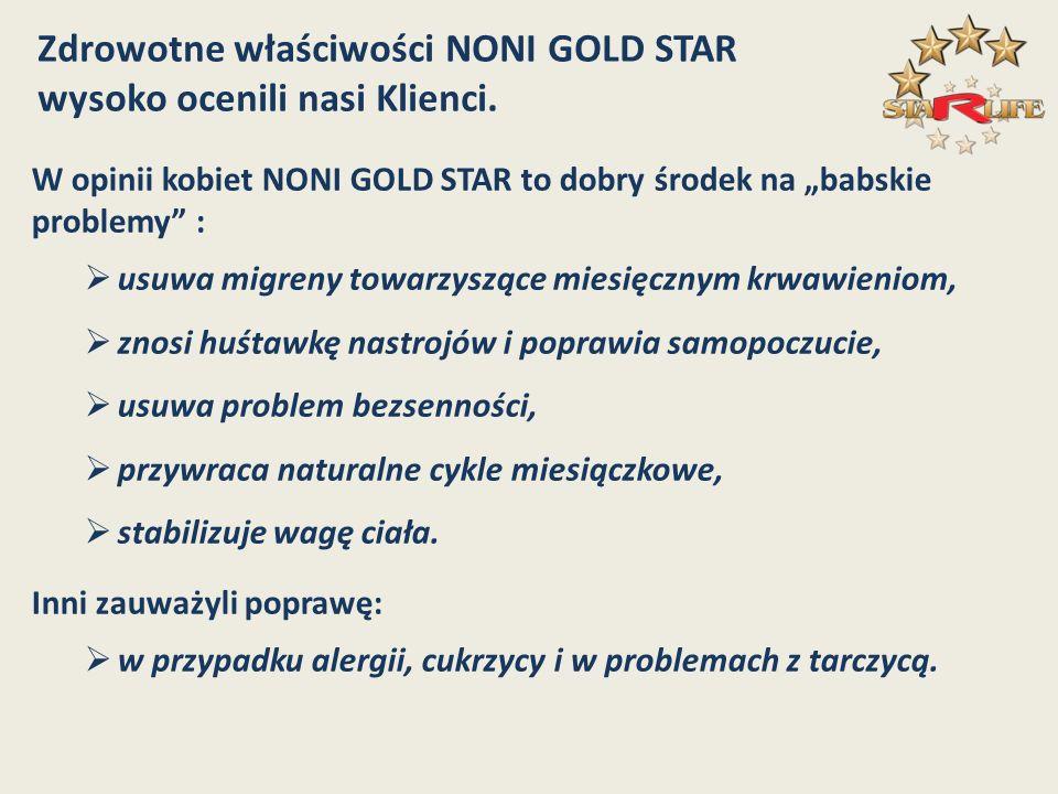 W opinii kobiet NONI GOLD STAR to dobry środek na babskie problemy : usuwa migreny towarzyszące miesięcznym krwawieniom, znosi huśtawkę nastrojów i po