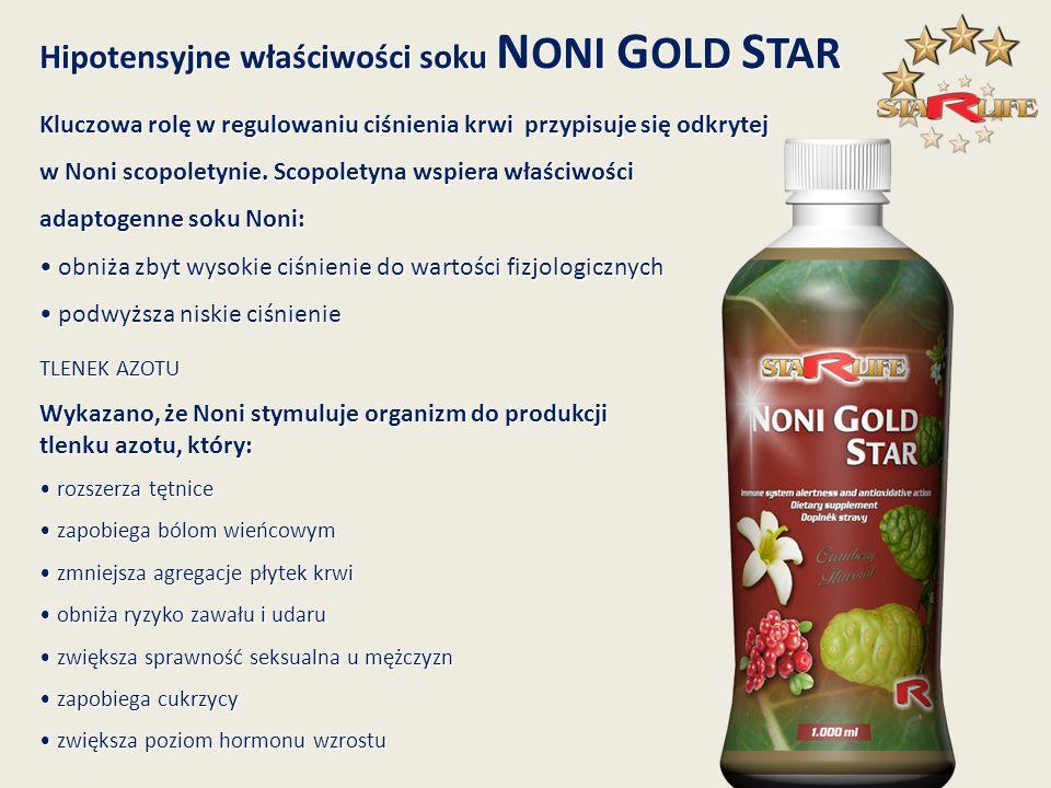 Hipotensyjne właściwości soku N ONI G OLD S TAR Kluczowa rolę w regulowaniu ciśnienia krwi przypisuje się odkrytej w Noni scopoletynie. Scopoletyna ws