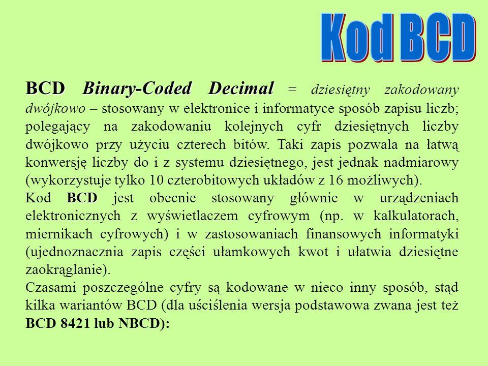 BCDBinary-Coded Decimal BCD Binary-Coded Decimal = dziesiętny zakodowany dwójkowo – stosowany w elektronice i informatyce sposób zapisu liczb; polegaj