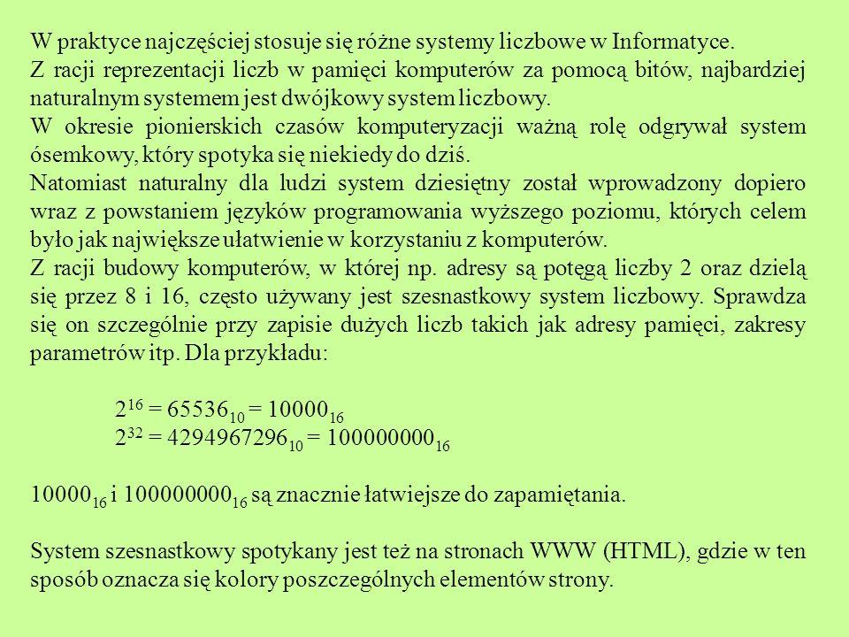 W praktyce najczęściej stosuje się różne systemy liczbowe w Informatyce. Z racji reprezentacji liczb w pamięci komputerów za pomocą bitów, najbardziej
