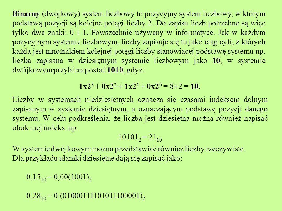 Obliczanie wartości dziesiętnej liczby zapisanej w systemie dwójkowym zapisanej w systemie dwójkowym Jedynka podobnie jak w systemie dziesiętnym ma różne wartości w zależności od swojej pozycji: na końcu oznacza 1, na drugiej pozycji od końca 2, na trzeciej 4, na czwartej 8, itd.