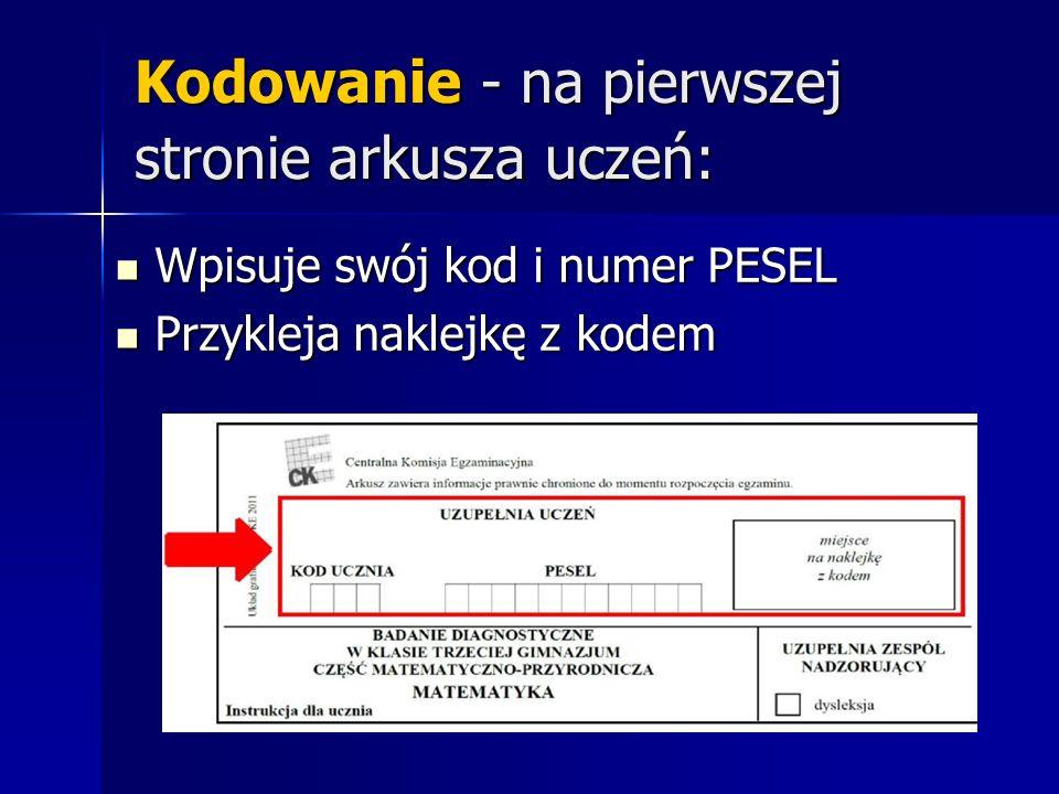 Kodowanie - na pierwszej stronie arkusza uczeń: Wpisuje swój kod i numer PESEL Wpisuje swój kod i numer PESEL Przykleja naklejkę z kodem Przykleja naklejkę z kodem