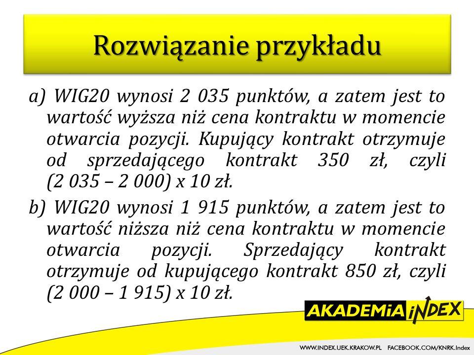 a) WIG20 wynosi 2 035 punktów, a zatem jest to wartość wyższa niż cena kontraktu w momencie otwarcia pozycji. Kupujący kontrakt otrzymuje od sprzedają