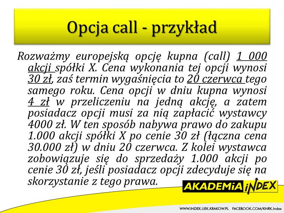 Rozważmy europejską opcję kupna (call) 1 000 akcji spółki X. Cena wykonania tej opcji wynosi 30 zł, zaś termin wygaśnięcia to 20 czerwca tego samego r