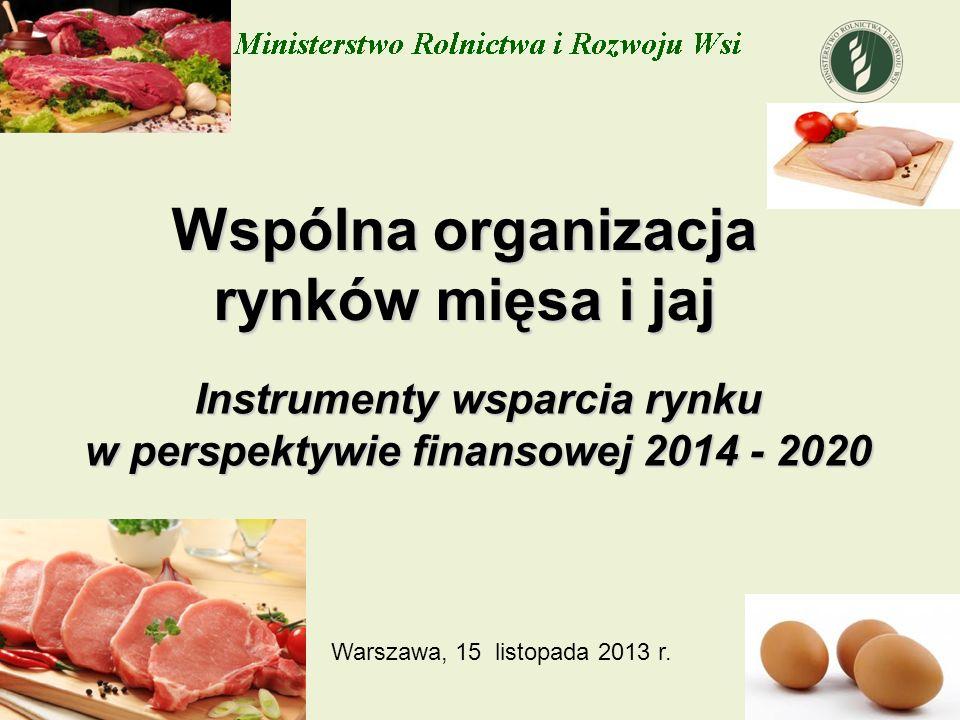 Wspólna organizacja rynków mięsa i jaj Instrumenty wsparcia rynku w perspektywie finansowej 2014 - 2020 Warszawa, 15 listopada 2013 r.