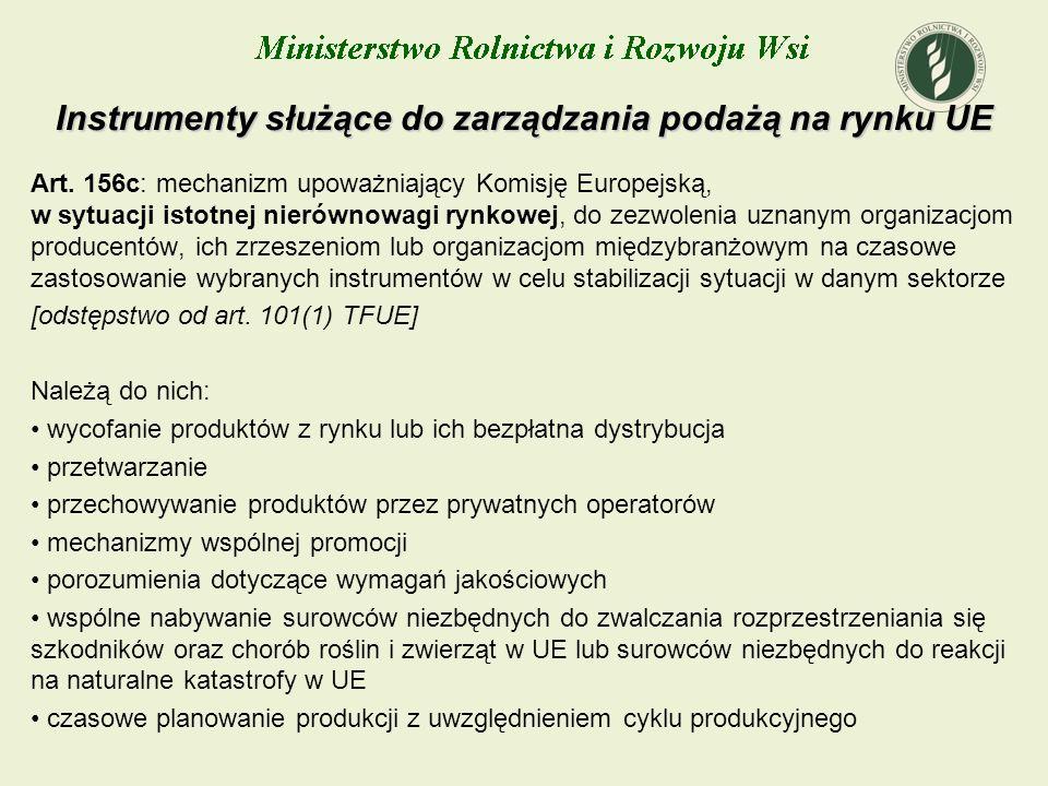Instrumenty służące do zarządzania podażą na rynku UE Art. 156c: mechanizm upoważniający Komisję Europejską, w sytuacji istotnej nierównowagi rynkowej