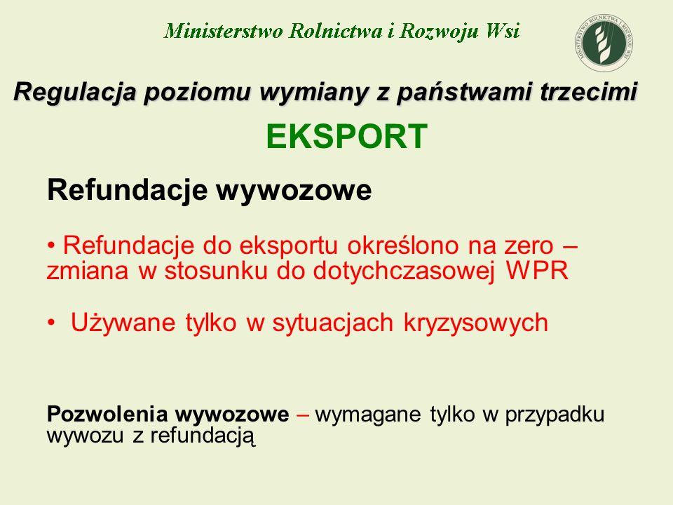 Regulacja poziomu wymiany z państwami trzecimi EKSPORT Refundacje wywozowe Refundacje do eksportu określono na zero – zmiana w stosunku do dotychczaso