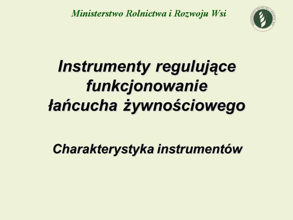 Charakterystyka instrumentów Instrumenty regulujące funkcjonowanie łańcucha żywnościowego