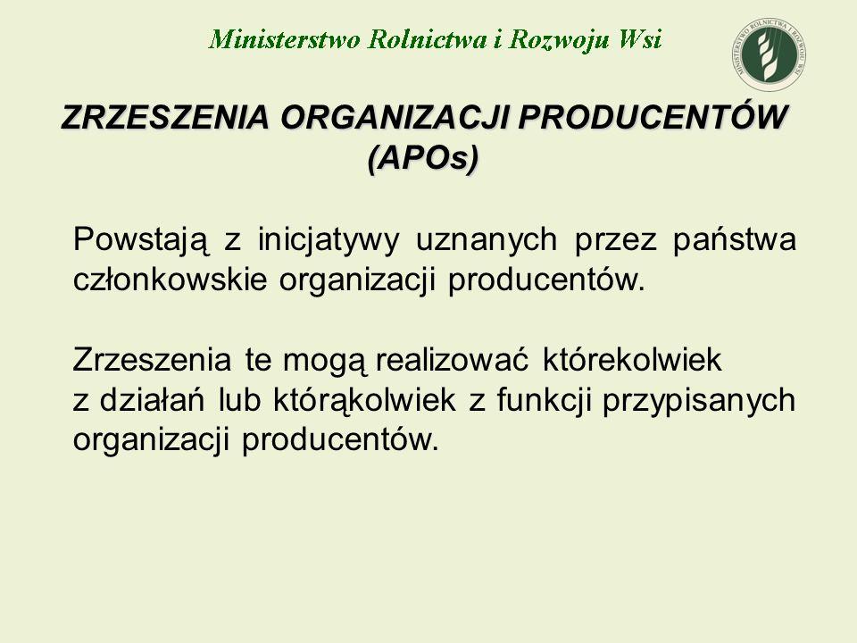 ZRZESZENIA ORGANIZACJI PRODUCENTÓW (APOs) Powstają z inicjatywy uznanych przez państwa członkowskie organizacji producentów. Zrzeszenia te mogą realiz