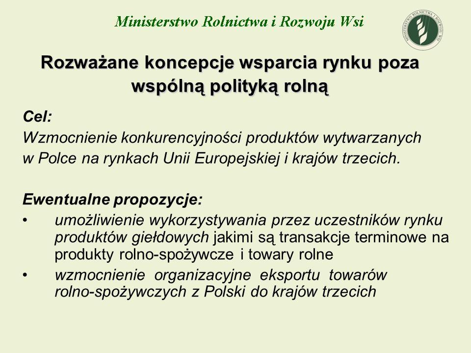 Rozważane koncepcje wsparcia rynku poza wspólną polityką rolną Cel: Wzmocnienie konkurencyjności produktów wytwarzanych w Polce na rynkach Unii Europe