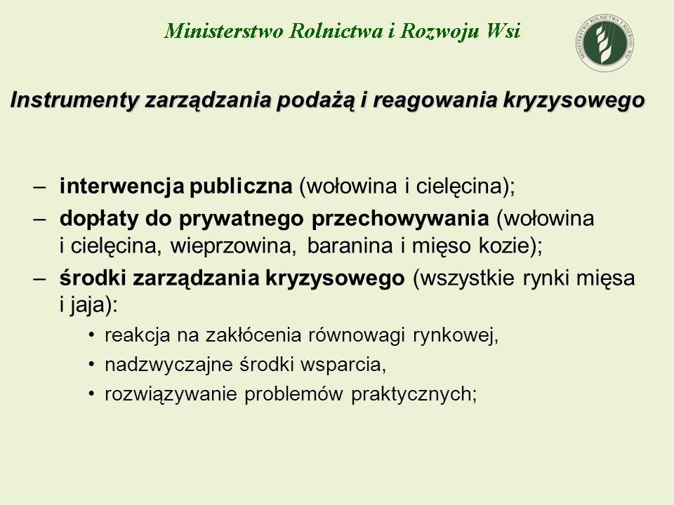 Instrumenty zarządzania podażą i reagowania kryzysowego –interwencja publiczna (wołowina i cielęcina); –dopłaty do prywatnego przechowywania (wołowina