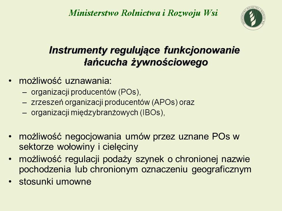 Instrumenty regulujące funkcjonowanie łańcucha żywnościowego możliwość uznawania: –organizacji producentów (POs), –zrzeszeń organizacji producentów (A