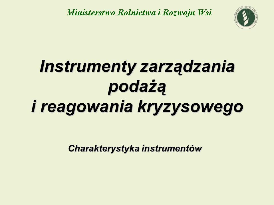 Instrumenty zarządzania podażą i reagowania kryzysowego Charakterystyka instrumentów