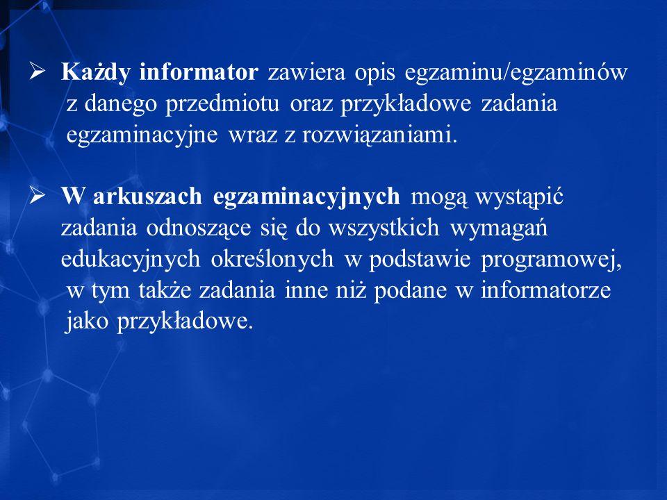 Każdy informator zawiera opis egzaminu/egzaminów z danego przedmiotu oraz przykładowe zadania egzaminacyjne wraz z rozwiązaniami. W arkuszach egzamina