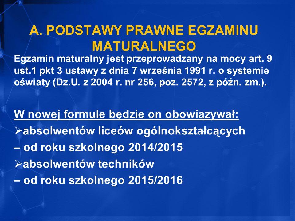 A. PODSTAWY PRAWNE EGZAMINU MATURALNEGO Egzamin maturalny jest przeprowadzany na mocy art. 9 ust.1 pkt 3 ustawy z dnia 7 września 1991 r. o systemie o