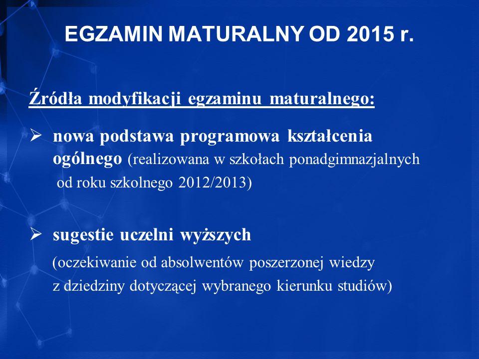 EGZAMIN MATURALNY OD 2015 r. Źródła modyfikacji egzaminu maturalnego: nowa podstawa programowa kształcenia ogólnego (realizowana w szkołach ponadgimna