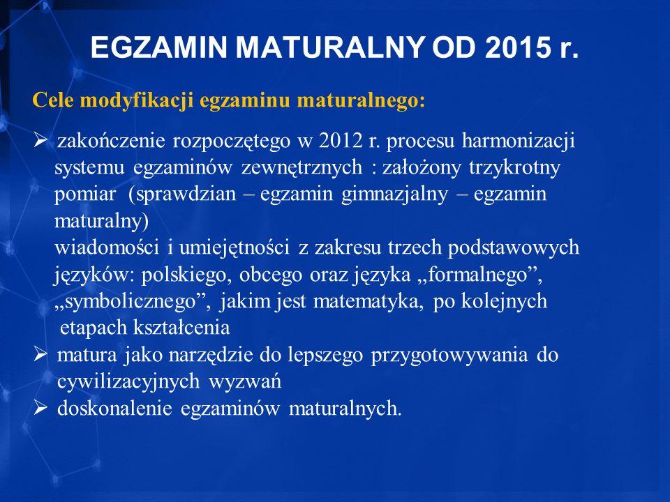 EGZAMIN MATURALNY OD 2015 r. Cele modyfikacji egzaminu maturalnego: zakończenie rozpoczętego w 2012 r. procesu harmonizacji systemu egzaminów zewnętrz