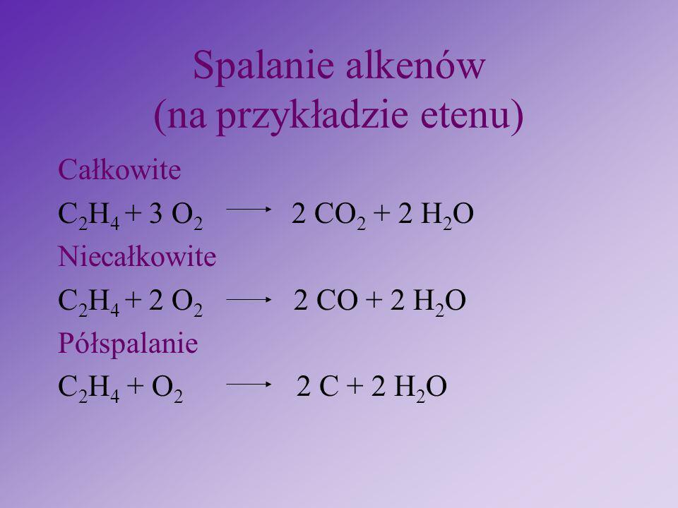 Reakcja eliminacji cynkiem chlorowcopochodnych + Zn + ZnCl 2 1, 2 dichloropropan cynk propen chlorek cynku H – C – C – C – H H Cl Cl H H H H – C – C =