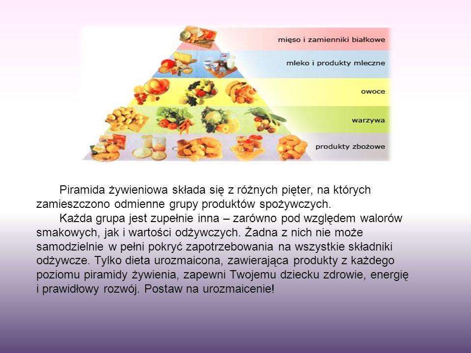 Piramida żywieniowa składa się z różnych pięter, na których zamieszczono odmienne grupy produktów spożywczych. Każda grupa jest zupełnie inna – zarówn