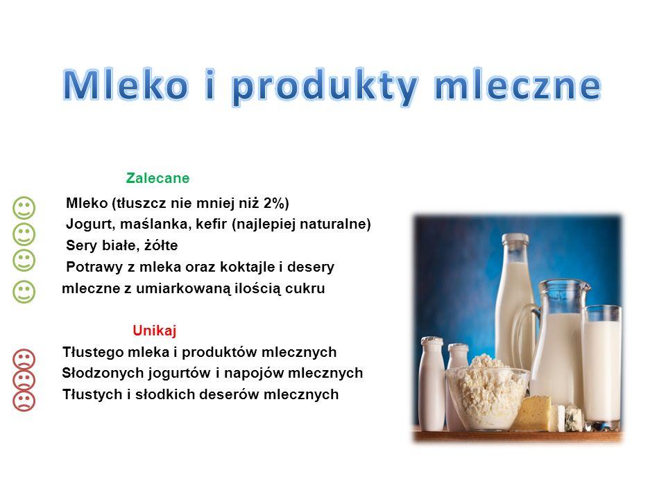 Zalecane Mleko (tłuszcz nie mniej niż 2%) Jogurt, maślanka, kefir (najlepiej naturalne) Sery białe, żółte Potrawy z mleka oraz koktajle i desery mlecz