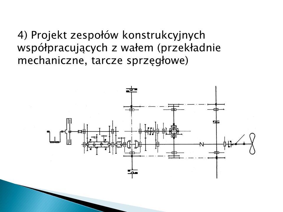 4) Projekt zespołów konstrukcyjnych współpracujących z wałem (przekładnie mechaniczne, tarcze sprzęgłowe)