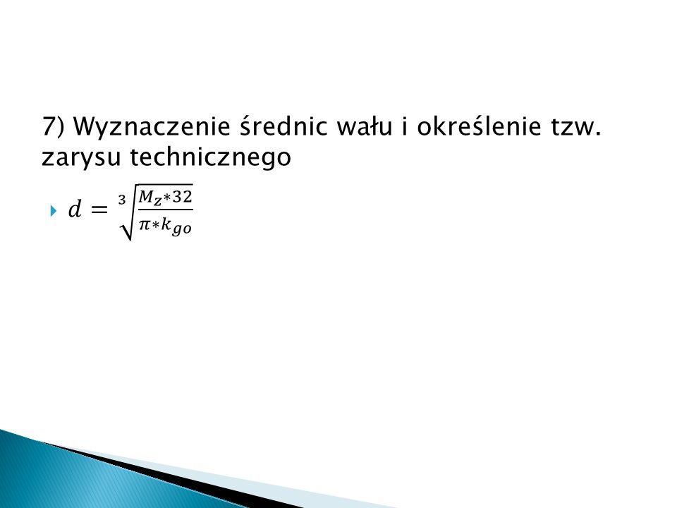 8) Dobór postaci geometrycznej wału, zaplanowanie czopów spoczynkowych i ruchowych oraz ostateczny dobór ich średnic.
