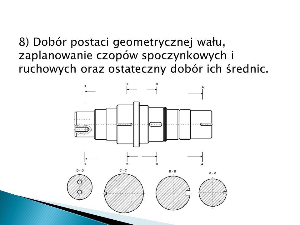 9) Dobór sposobu osadzenia wału w łożyskach – łożyskowanie ślizgowe lub toczne