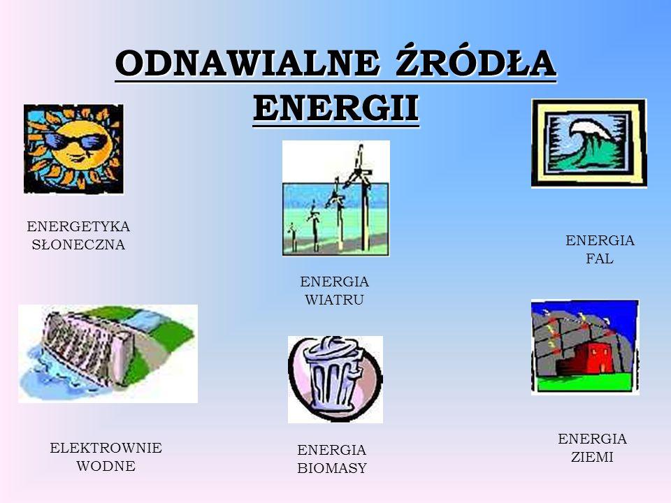 ODNAWIALNE ŹRÓDŁA ENERGII ENERGETYKA SŁONECZNA ELEKTROWNIE WODNE ENERGIA FAL ENERGIA ZIEMI ENERGIA BIOMASY ENERGIA WIATRU