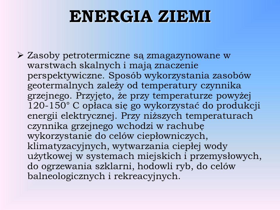ENERGIA ZIEMI Zasoby petrotermiczne są zmagazynowane w warstwach skalnych i mają znaczenie perspektywiczne. Sposób wykorzystania zasobów geotermalnych