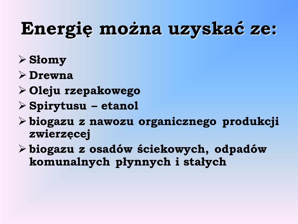Energię można uzyskać ze: Słomy Drewna Oleju rzepakowego Spirytusu – etanol biogazu z nawozu organicznego produkcji zwierzęcej biogazu z osadów ścieko
