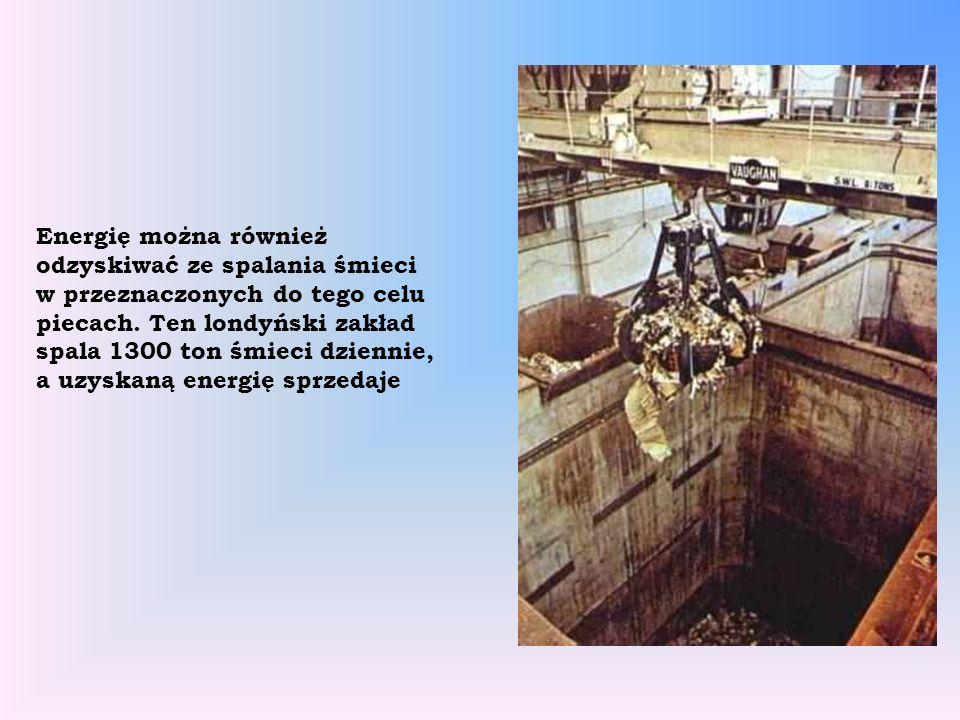 Energię można również odzyskiwać ze spalania śmieci w przeznaczonych do tego celu piecach. Ten londyński zakład spala 1300 ton śmieci dziennie, a uzys