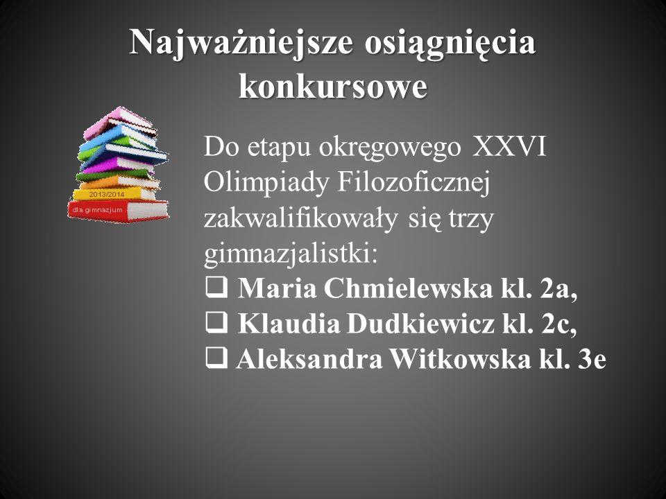 Najważniejsze osiągnięcia konkursowe Do etapu okręgowego XXVI Olimpiady Filozoficznej zakwalifikowały się trzy gimnazjalistki: Maria Chmielewska kl. 2