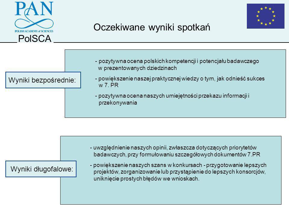 PolSCA Oczekiwane wyniki spotkań - uwzględnienie naszych opinii, zwłaszcza dotyczących priorytetów badawczych, przy formułowaniu szczegółowych dokumen